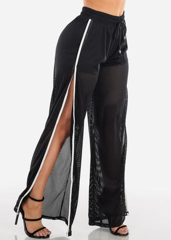 Image of Black Mesh Split Leg Pants