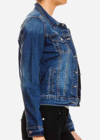 Image of Med Wash Button Up Denim Jacket