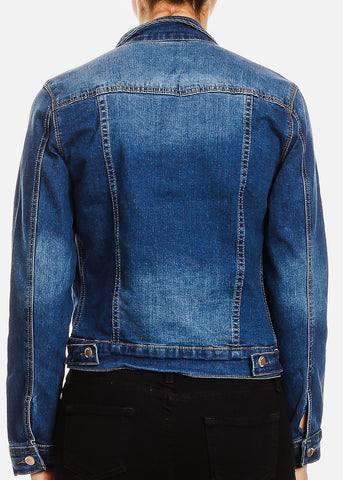 Med Wash Button Up Denim Jacket
