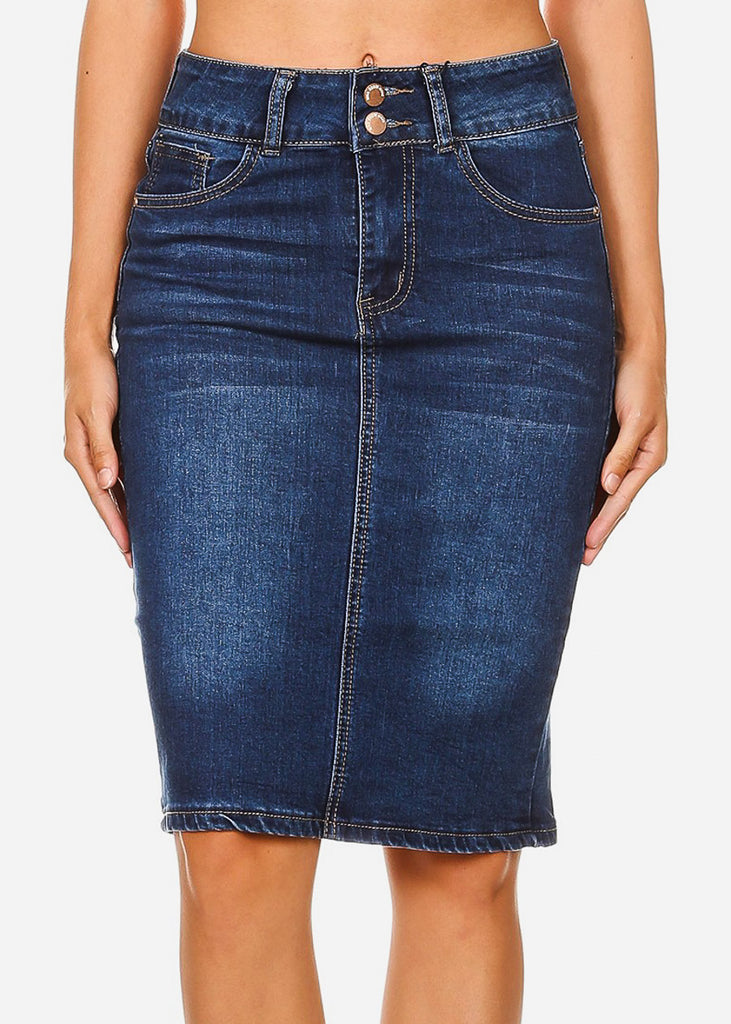 High Rise Med Wash Fitted Midi Skirt