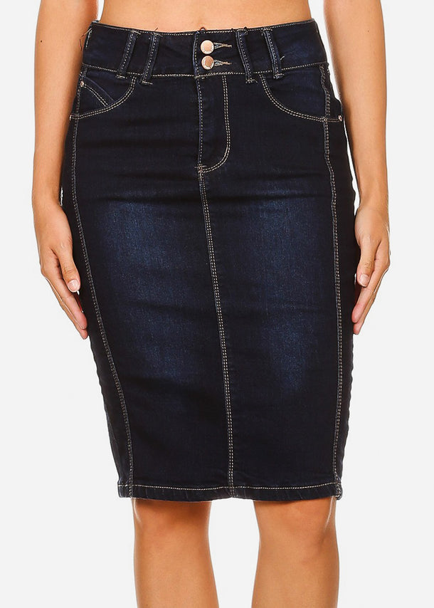High Rise Dark Wash Fitted Midi Skirt