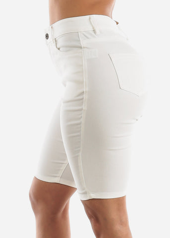 Image of High Waisted White Bermuda Shorts