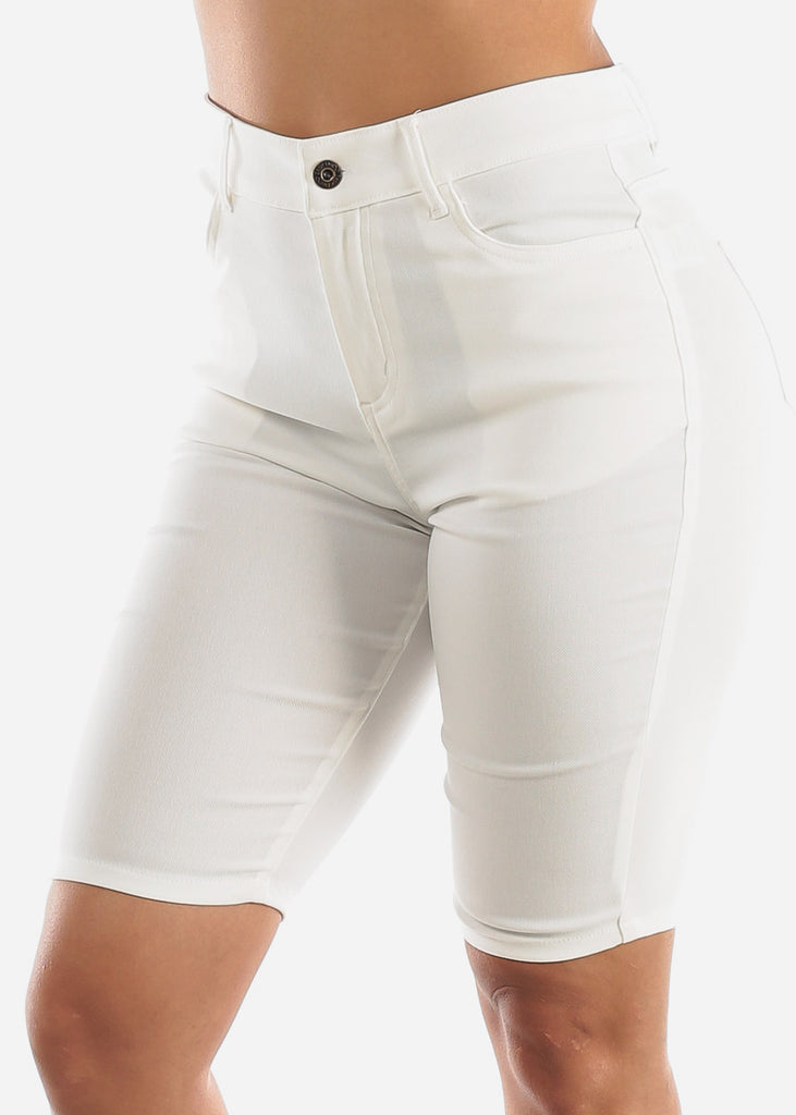 High Waisted White Bermuda Shorts