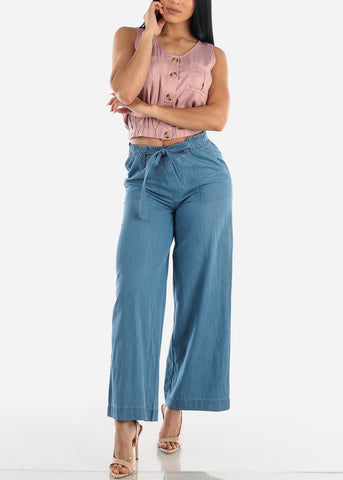 Wide Legged Paperbag Denim Pants