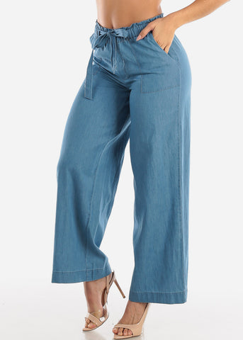 Image of Wide Legged Paperbag Denim Pants