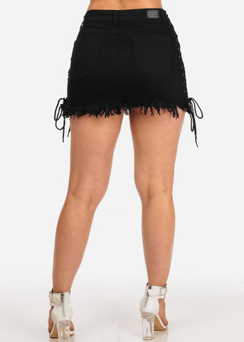 Sexy Trendy Must Have Summer Side Lace Up Detail Distressed Black Denim Mini Skirt