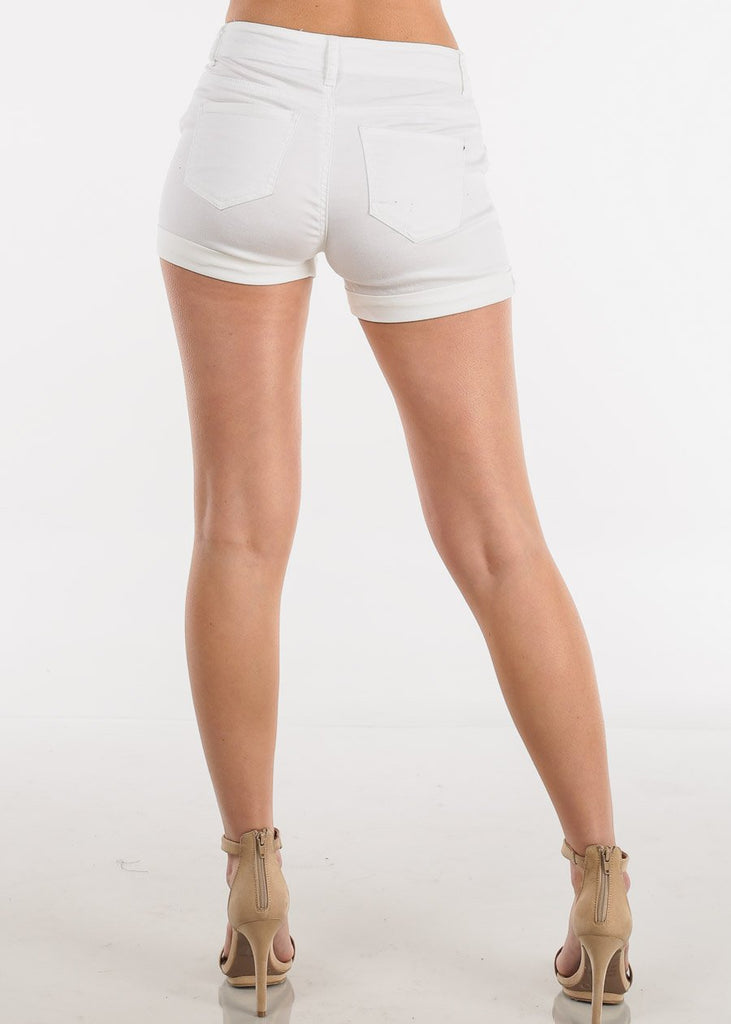 Lace Up Front White Shorts
