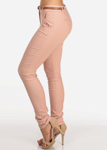 Women's Junior Ladies Dressy Stretchy Going Out Business Career Office Wear Low Rise Below The Waist Skinny Leg Mauve Dressy Dress Pants With Belt