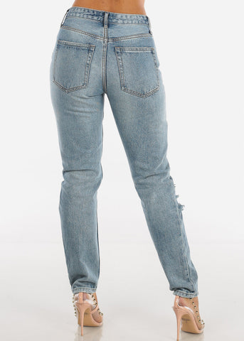Image of High Rise Distressed Mom Jeans TW90150