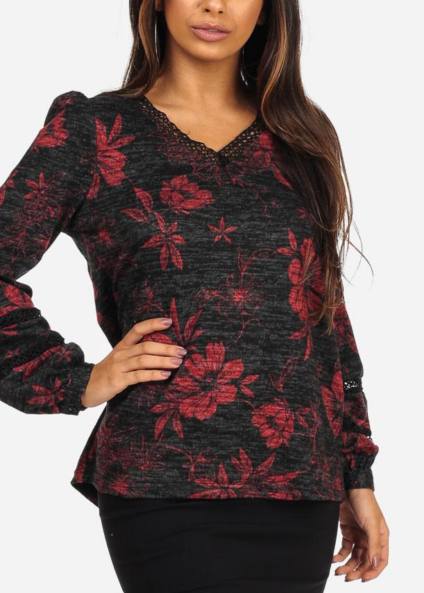 V Neckline Long Sleeve Floral Print Black Blouse Top