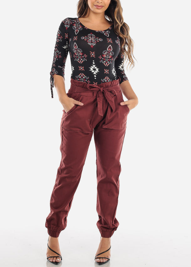 High Waist Burgundy Jogger Pants with Cinched Belted Waist
