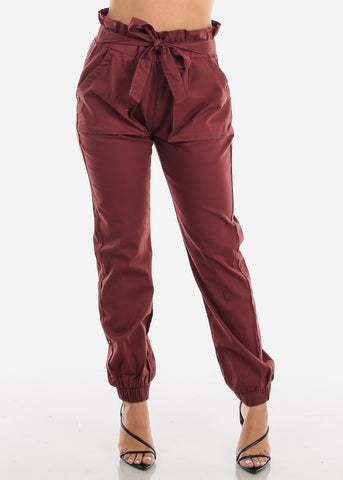 Image of Burgundy Ruffle Waist Jogger Pants