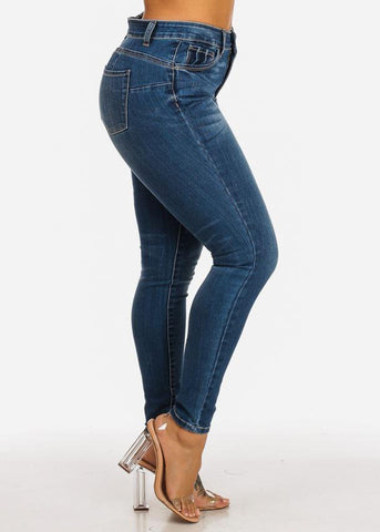 Image of High Rise Butt Lifting Med Wash Skinny Jeans