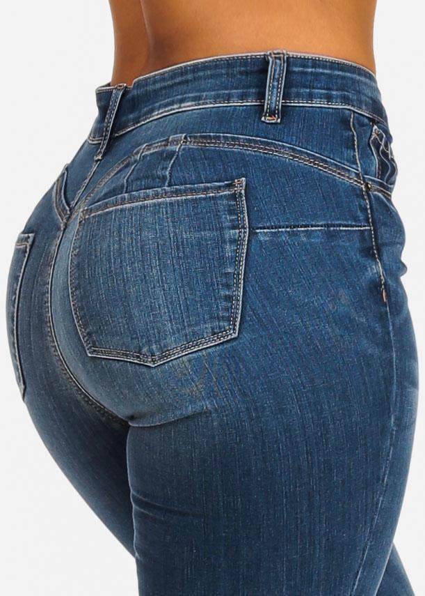 High Rise Butt Lifting Med Wash Skinny Jeans