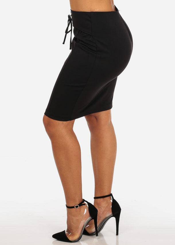 High Rise Lace Up Black Skirt