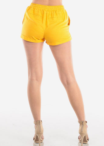 Image of Women's Junior Ladies Casual Cute Going Out Beach Vacation High Waisted Mustard Linen Shorts