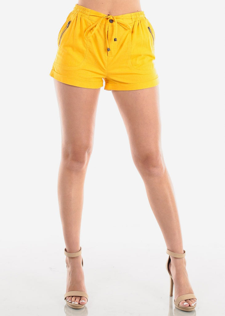 Women's Junior Ladies Casual Cute Going Out Beach Vacation High Waisted Mustard Linen Shorts