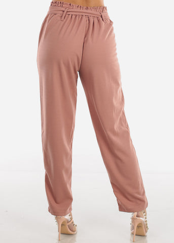 Image of High Rise Mauve Palazzo Trousers
