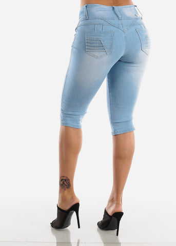 Image of Butt Lifting Light Wash Denim Capris