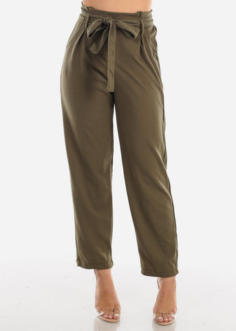 Image of High Rise Olive Palazzo Trousers