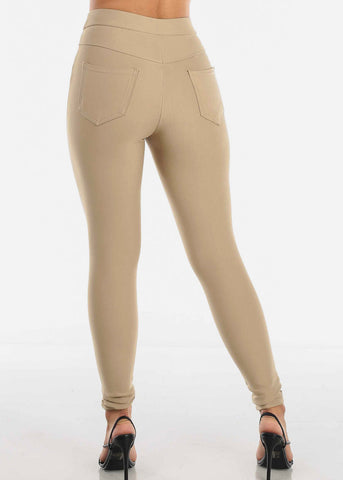 High Rise Skinny Khaki Tregging