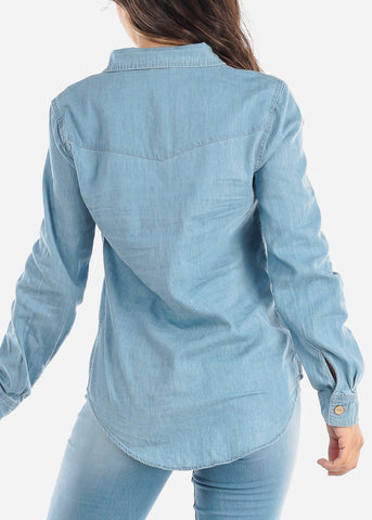 Image of Light Wash Denim Button Down Shirt