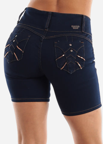 Butt Lifting High Rise Dark Wash Denim Shorts