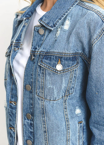 Image of Torn Dark Wash Denim Jacket