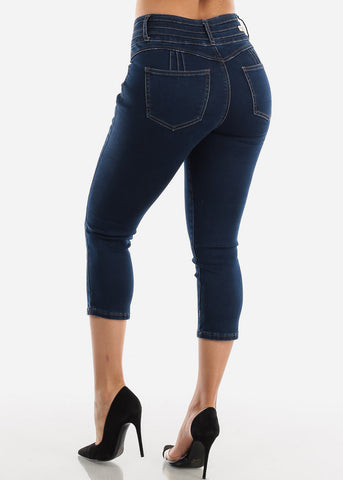 Image of Dark Wash Butt Lifting Denim Capris