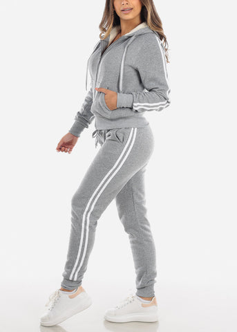 Image of Grey Stripe Sides Sweater & Pants (2 PCE SET)