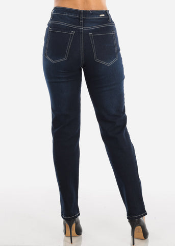 Image of High Rise Bootcut Dark Wash Mom Jeans