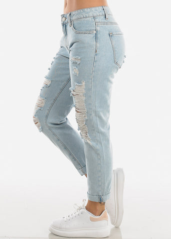 Image of Light Wash Distressed Boyfriend Jeans