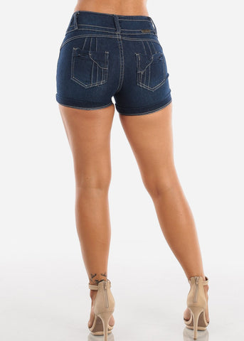 Image of Sexy Stylish Butt Lifting Levanta Cola Colombian Design 3 Button Mid Rise Dark Wash Booty Shorts On Sale