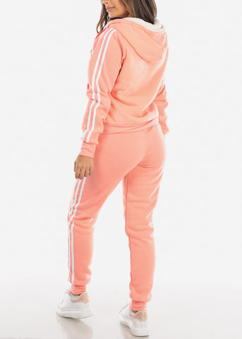 Image of Peach Stripe Sides Sweater & Pants (2 PCE SET)