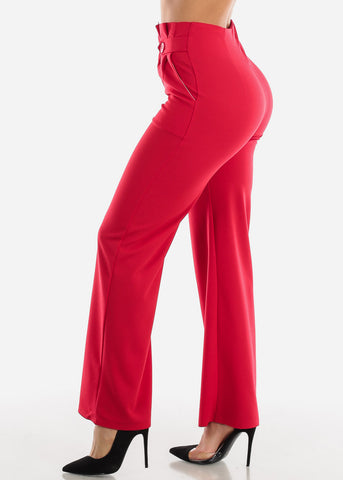 Image of High Rise Red Palazzo Trousers