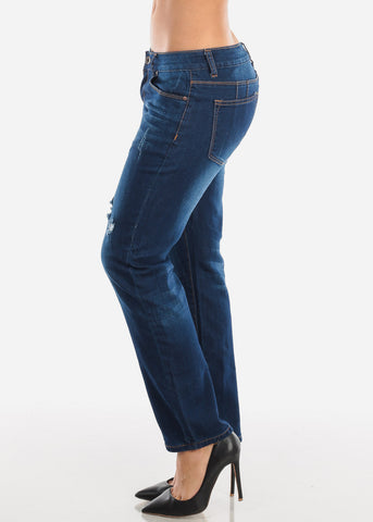 Butt Lifting Dark Wash Boyfriend Jeans
