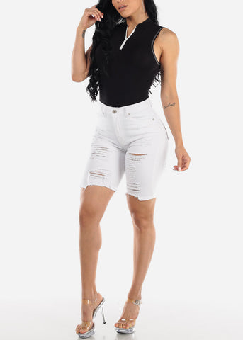 Image of Torn White Denim Bermuda Shorts
