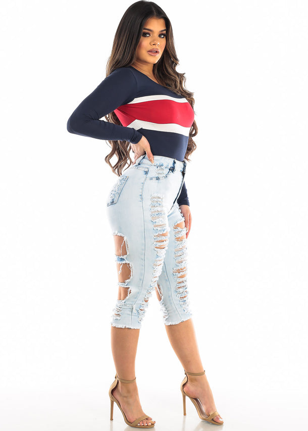 Two Sided Distressed Light Denim Capris