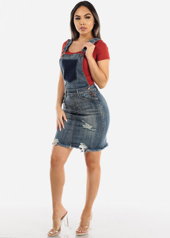 Faded Wash Denim Overall Dress