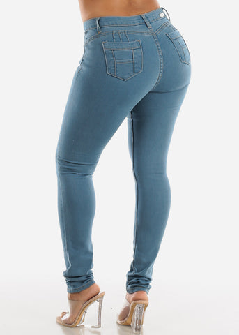 Levanta Cola Light Wash Skinny Jeans