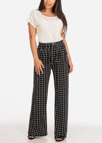 Image of Women's Junior Ladies Sexy Going Out High Waisted Elastic Waist Black Plaid Print Palazzo Wide Legged Pants
