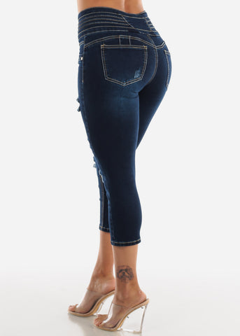 Butt Lifting Torn Dark Wash Denim Capris