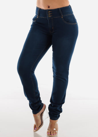 Dark Wash Plus Size High Rise Skinny Jeans