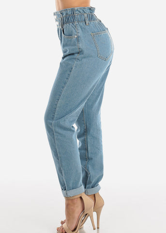 Image of Super High Rise Light Wash Mom Jeans