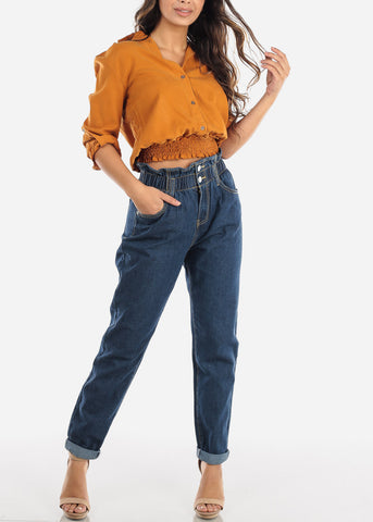 Super High Rise Dark Wash Mom Jeans