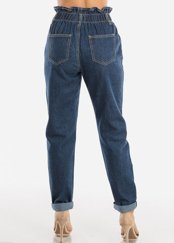 Image of Super High Rise Dark Wash Mom Jeans