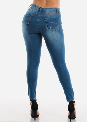 Butt Lifting Torn Med Wash Skinny Jeans