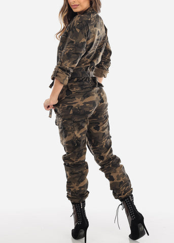 Image of Camouflage Button Up Denim Coveralls