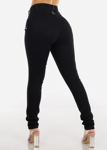 Ultra High Rise Butt Lifting Black Skinny Jeans