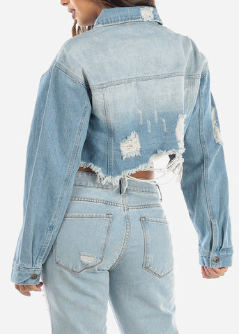 Light Cropped Distressed Denim Jacket